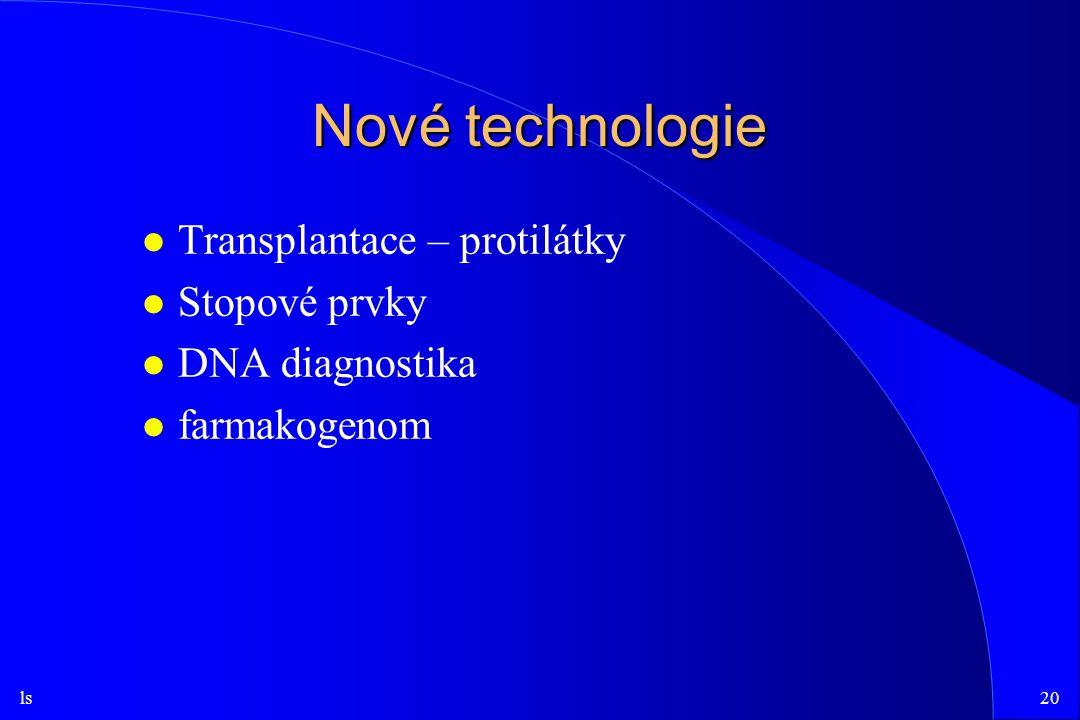 ls20 Nové technologie l Transplantace – protilátky l Stopové prvky l DNA diagnostika l farmakogenom