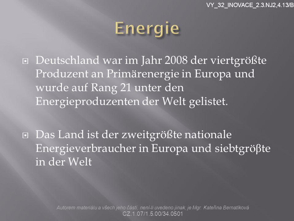  Deutschland war im Jahr 2008 der viertgrößte Produzent an Primärenergie in Europa und wurde auf Rang 21 unter den Energieproduzenten der Welt gelistet.