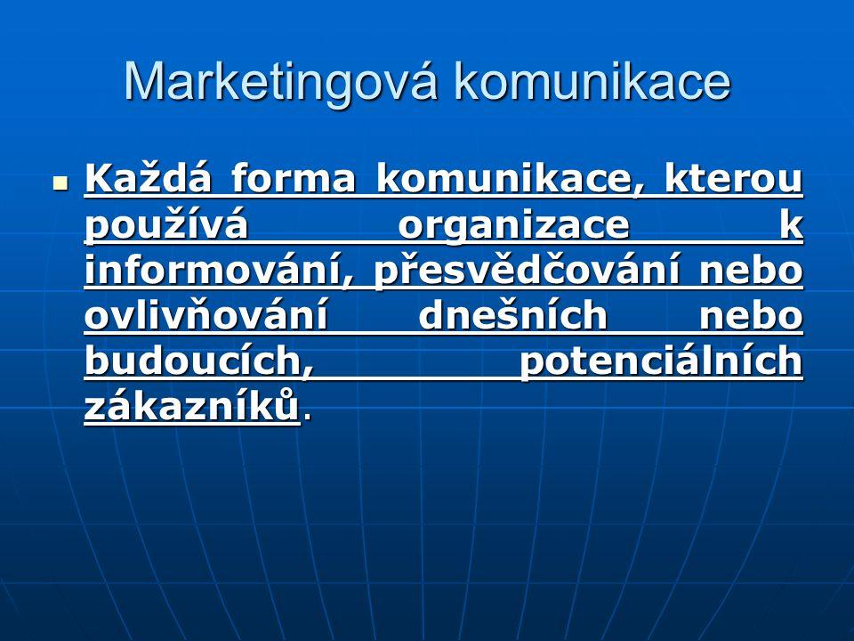 Každá forma komunikace, kterou používá organizace k informování, přesvědčování nebo ovlivňování dnešních nebo budoucích, potenciálních zákazníků. Každ