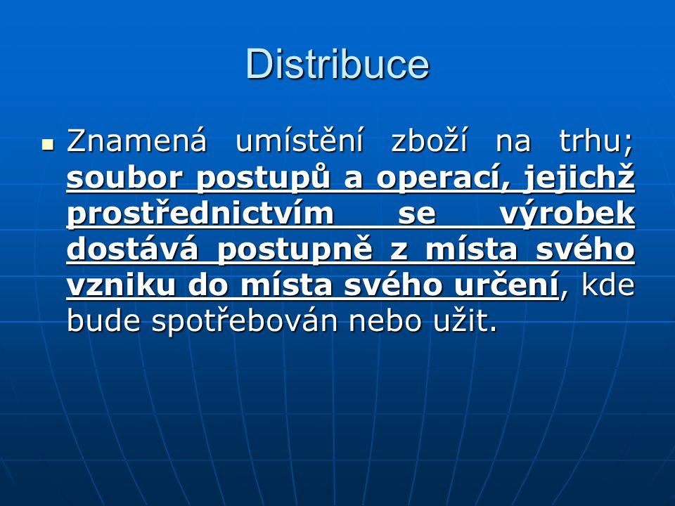Distribuce Znamená umístění zboží na trhu; soubor postupů a operací, jejichž prostřednictvím se výrobek dostává postupně z místa svého vzniku do místa