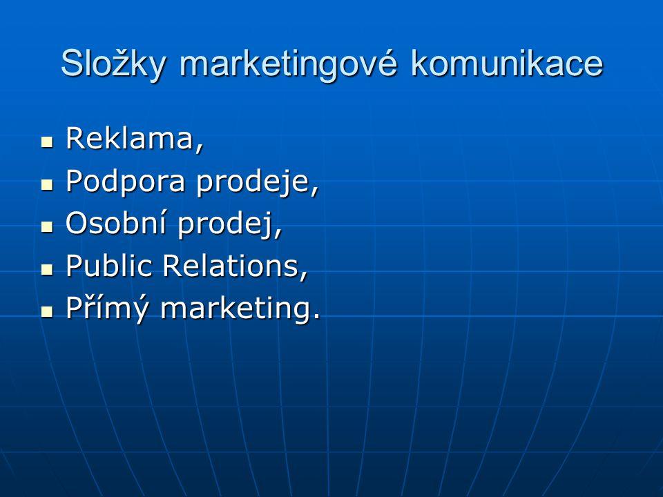 Složky marketingové komunikace Reklama, Reklama, Podpora prodeje, Podpora prodeje, Osobní prodej, Osobní prodej, Public Relations, Public Relations, P