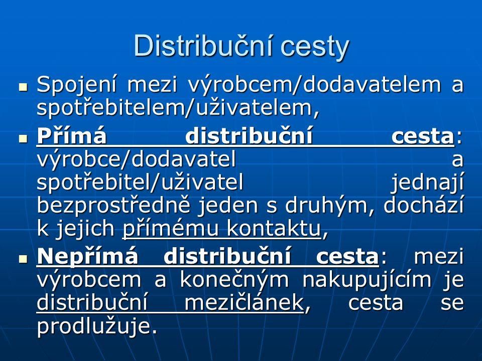 Výběr marketingových distribučních cest Faktory výběru: Faktory výběru: Výrobek – jeho charakter, průběh životního cyklu, rozměry, hmotnost, hodnota výrobku, Výrobek – jeho charakter, průběh životního cyklu, rozměry, hmotnost, hodnota výrobku, Dodavatelské výrobní podniky – jejich výrobní kapacity a rozmístění, úroveň fyzické distribuce, technologické, finanční, materiálové a personální možnosti, Dodavatelské výrobní podniky – jejich výrobní kapacity a rozmístění, úroveň fyzické distribuce, technologické, finanční, materiálové a personální možnosti,