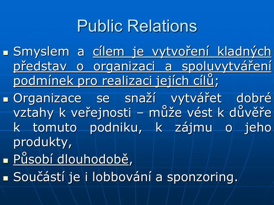 Public Relations Smyslem a cílem je vytvoření kladných představ o organizaci a spoluvytváření podmínek pro realizaci jejích cílů; Smyslem a cílem je v