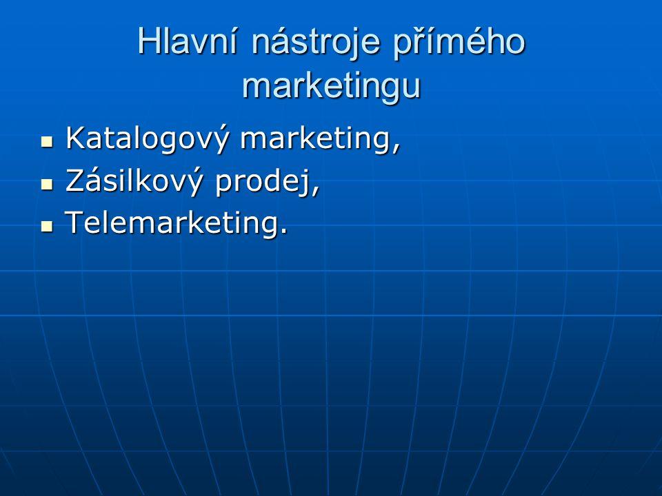 Hlavní nástroje přímého marketingu Katalogový marketing, Katalogový marketing, Zásilkový prodej, Zásilkový prodej, Telemarketing. Telemarketing.