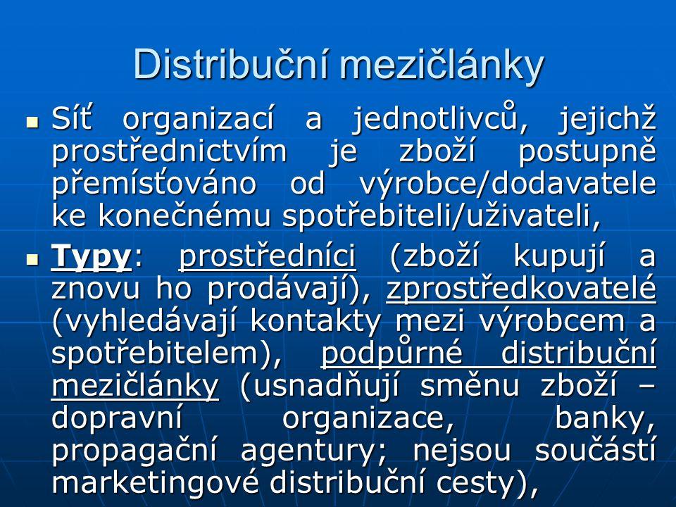 """Počet distribučních článků: intensivní distribuce (běžné zboží s rychlým obratem, sloužící k uspokojování základních potřeb zákazníků, zboží k dispozici na """"všech možných prodejních místech), selektivní distribuce (omezený počet míst, ve kterých je zboží k dispozici, vybraní distributoři se věnují umístění zboží na vybraných trzích, méně mezičlánků, ale hlubší vztahy s nimi), exkluzivní distribuce (velmi málo distribučních míst, mezičlánek s výhradními právy prodejce pro určitou oblast, především pro luxusní zboží)."""