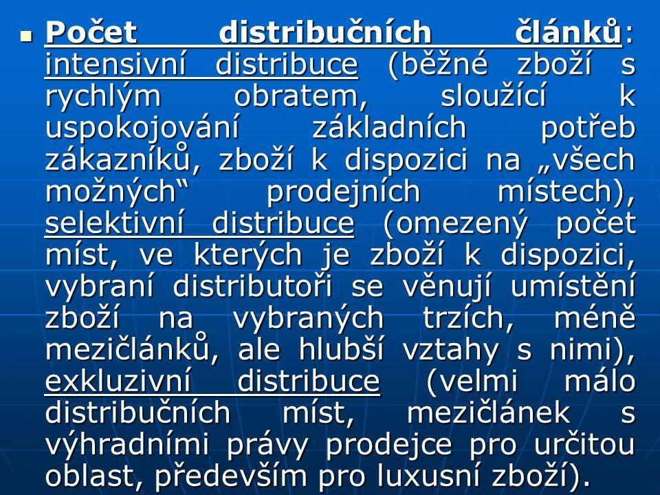 Počet distribučních článků: intensivní distribuce (běžné zboží s rychlým obratem, sloužící k uspokojování základních potřeb zákazníků, zboží k dispozi
