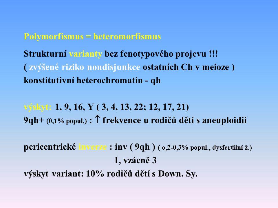 Polymorfismus = heteromorfismus Strukturní varianty bez fenotypového projevu !!! ( zvýšené riziko nondisjunkce ostatních Ch v meioze ) konstitutivní h
