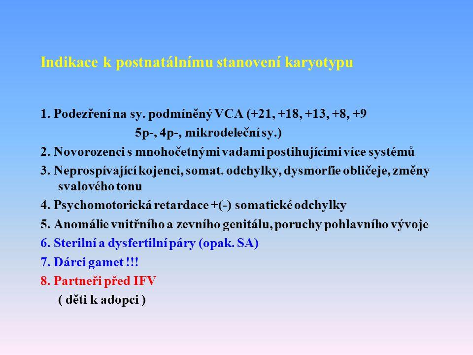Indikace k postnatálnímu stanovení karyotypu 1. Podezření na sy. podmíněný VCA (+21, +18, +13, +8, +9 5p-, 4p-, mikrodeleční sy.) 2. Novorozenci s mno