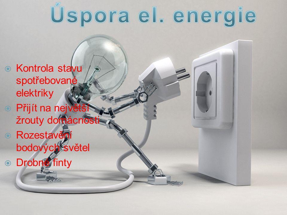  Kontrola stavu spotřebované elektriky  Přijít na největší žrouty domácnosti  Rozestavění bodových světel  Drobné finty