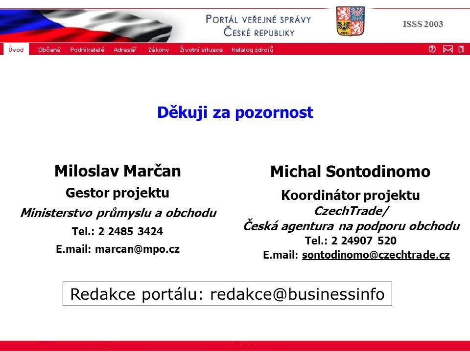 Portál veřejné správy © 2002 IBM Corporation ISSS 2003 Michal Sontodinomo Koordinátor projektu CzechTrade/ Česká agentura na podporu obchodu Tel.: 2 2