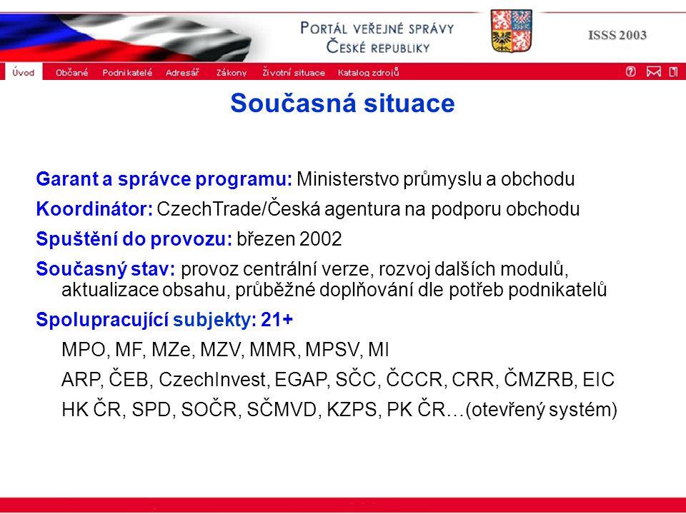 Portál veřejné správy © 2002 IBM Corporation ISSS 2003 Současná situace Garant a správce programu: Ministerstvo průmyslu a obchodu Koordinátor: CzechT