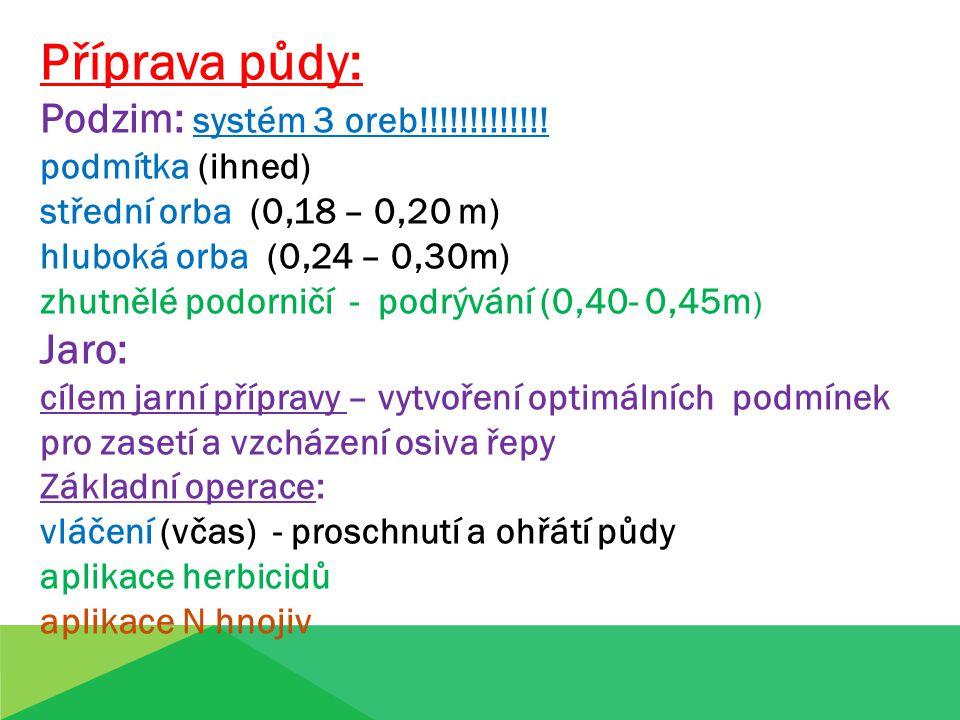 Příprava půdy: Podzim: systém 3 oreb!!!!!!!!!!!!! podmítka (ihned) střední orba (0,18 – 0,20 m) hluboká orba (0,24 – 0,30m) zhutnělé podorničí - podrý