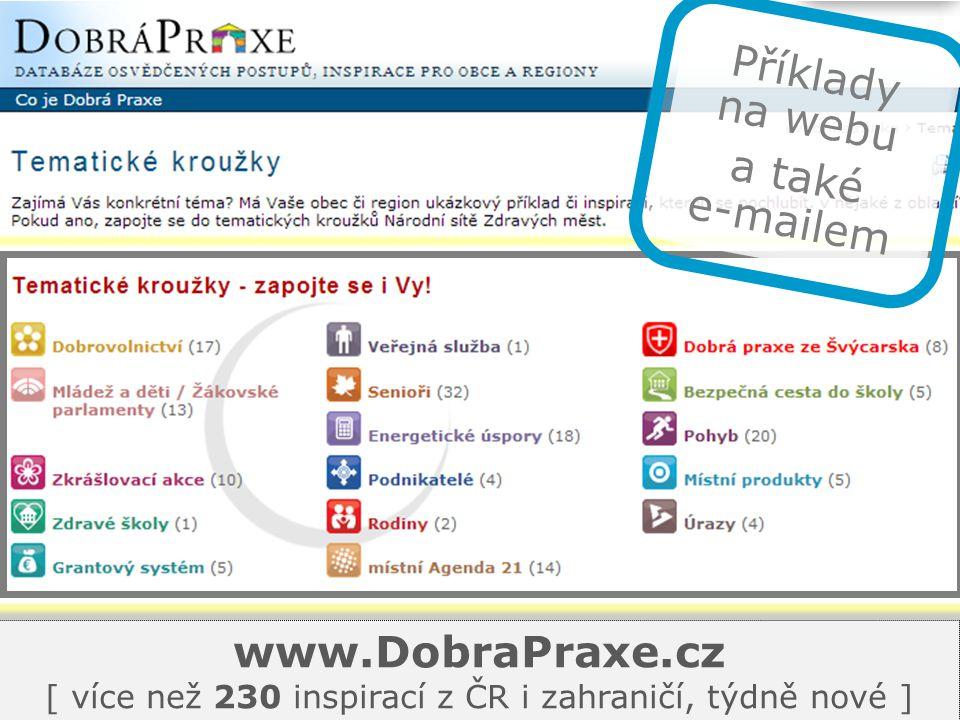 www.DobraPraxe.cz [ více než 230 inspirací z ČR i zahraničí, týdně nové ] Příklady na webu a také e-mailem