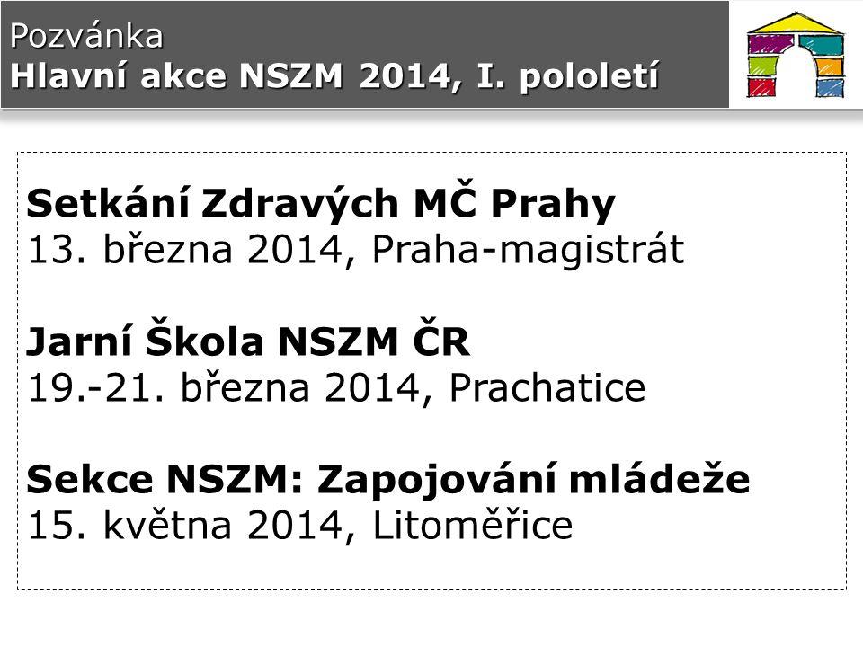 Pozvánka Hlavní akce NSZM 2014, I. pololetí Setkání Zdravých MČ Prahy 13.