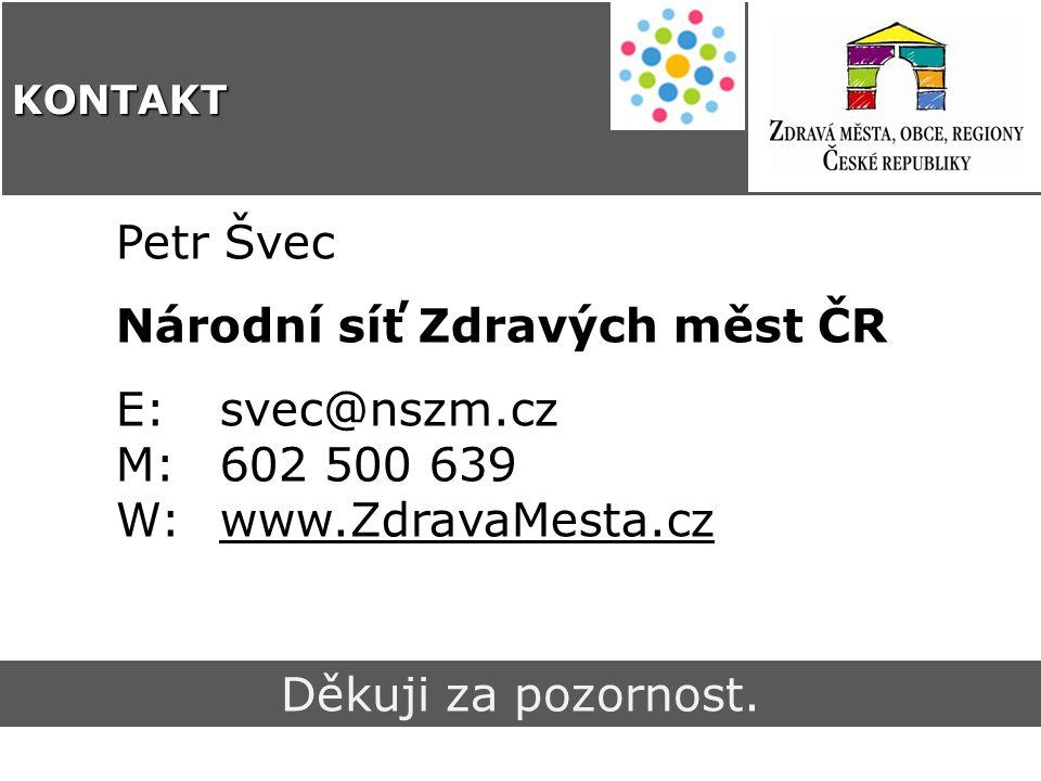 Petr Švec Národní síť Zdravých měst ČR E: svec@nszm.cz M: 602 500 639 W: www.ZdravaMesta.cz Děkuji za pozornost.