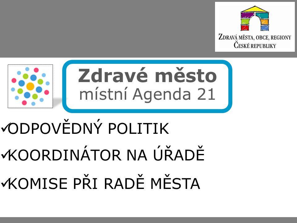 Zdravé město místní Agenda 21 ODPOVĚDNÝ POLITIK KOORDINÁTOR NA ÚŘADĚ KOMISE PŘI RADĚ MĚSTA
