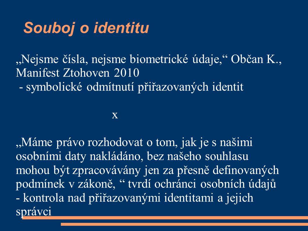 """Souboj o identitu """"Nejsme čísla, nejsme biometrické údaje, Občan K., Manifest Ztohoven 2010 - symbolické odmítnutí přiřazovaných identit x """"Máme právo rozhodovat o tom, jak je s našimi osobními daty nakládáno, bez našeho souhlasu mohou být zpracovávány jen za přesně definovaných podmínek v zákoně, tvrdí ochránci osobních údajů - kontrola nad přiřazovanými identitami a jejich správci"""