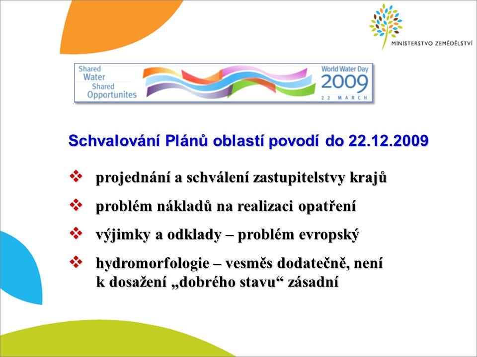 Schvalování Plánů oblastí povodí do 22.12.2009  projednání a schválení zastupitelstvy krajů  problém nákladů na realizaci opatření  výjimky a odkla