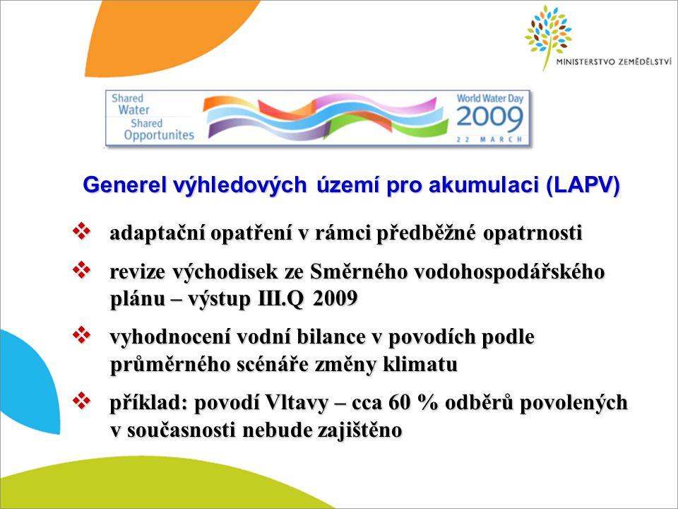 Generel výhledových území pro akumulaci (LAPV)  adaptační opatření v rámci předběžné opatrnosti  revize východisek ze Směrného vodohospodářského plá