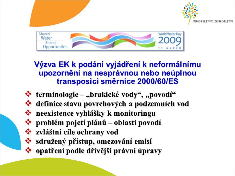 """Výzva EK k podání vyjádření k neformálnímu upozornění na nesprávnou nebo neúplnou transposici směrnice 2000/60/ES  terminologie – """"brakické vody"""", """"p"""