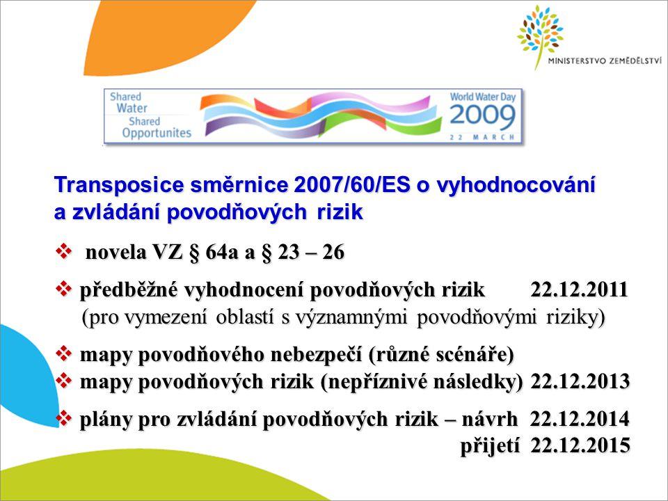 Transposice směrnice 2007/60/ES o vyhodnocování a zvládání povodňových rizik  novela VZ § 64a a § 23 – 26  předběžné vyhodnocení povodňových rizik 2
