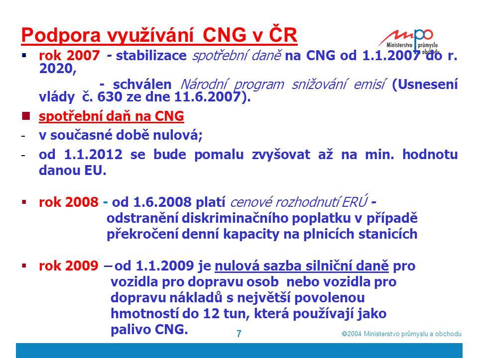  2004  Ministerstvo průmyslu a obchodu 8 Podpora využívání CNG v ČR (2)  rok 2008 až 2013 Ministerstvo dopravy poskytuje na nové nízkopodlažní CNG autobusy v rámci Programu obnovy vozidel veřejné autobusové dopravy dotace: - pro veřejnou linkovou dopravu až 1,8 mil.