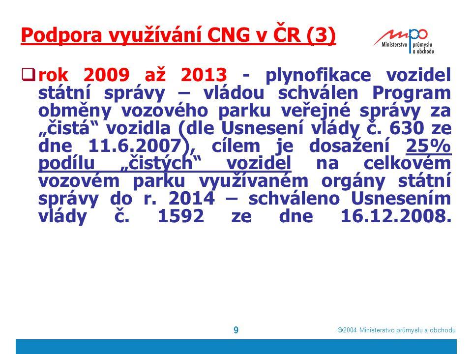  2004  Ministerstvo průmyslu a obchodu 10 ČR – stav v oblasti CNG Celkem více než 1300 CNG vozidel: 233 autobusů Více než 1.000 osobních a dodávkových vozů 10 svozových vozidel 2 čistící vozidla nákladní vozidla 14 vysokozdvihů, 2 rolby
