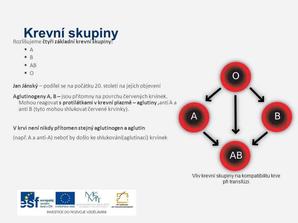 Krevní skupiny Rozlišujeme čtyři základní krevní skupiny: AA BB  AB OO Jan Jánský – podílel se na počátku 20. století na jejich objevení Agluti