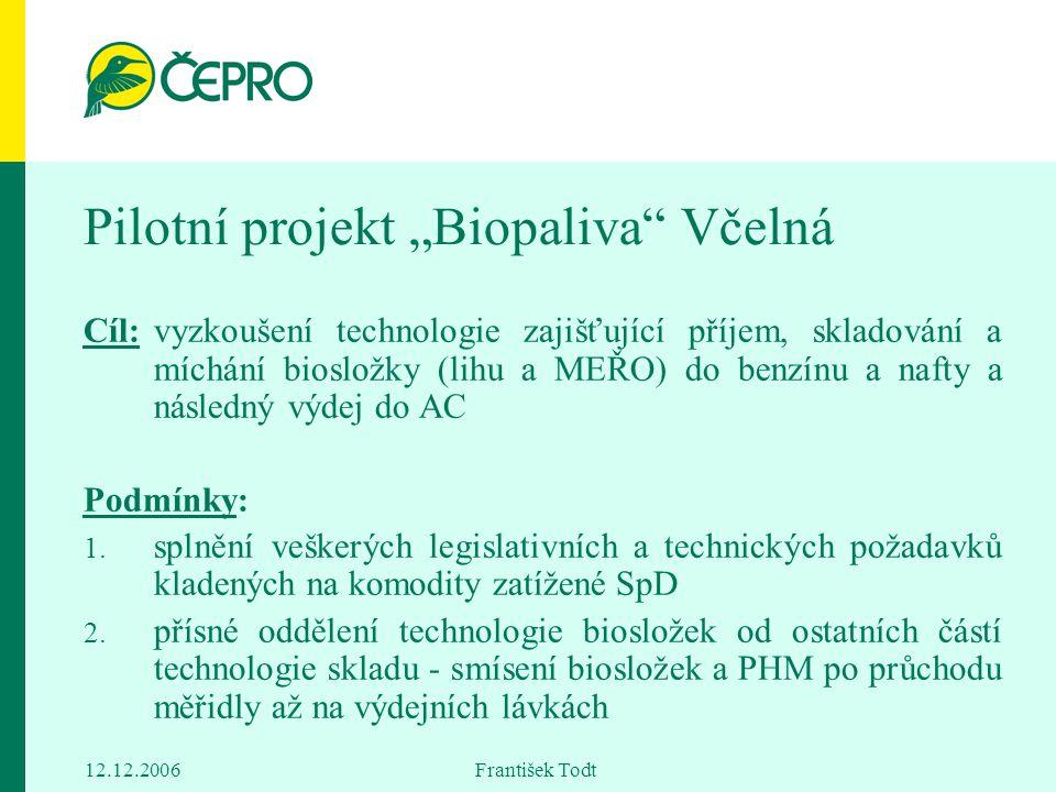"""12.12.2006 František Todt Pilotní projekt """"Biopaliva"""" Včelná Cíl:vyzkoušení technologie zajišťující příjem, skladování a míchání biosložky (lihu a MEŘ"""