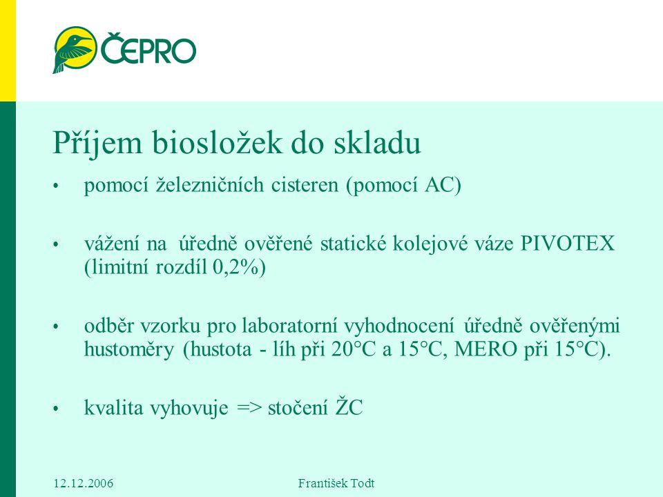 12.12.2006 František Todt Příjem biosložek do skladu pomocí železničních cisteren (pomocí AC) vážení na úředně ověřené statické kolejové váze PIVOTEX