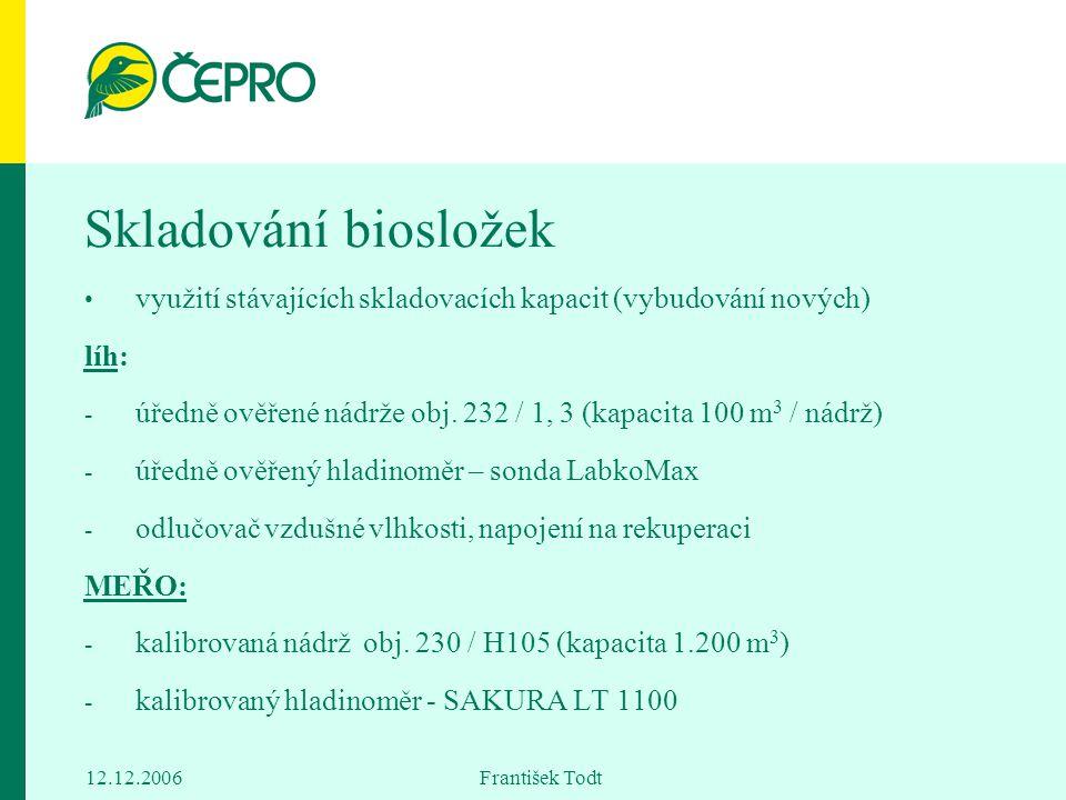 12.12.2006 František Todt Skladování biosložek využití stávajících skladovacích kapacit (vybudování nových) líh: - úředně ověřené nádrže obj. 232 / 1,