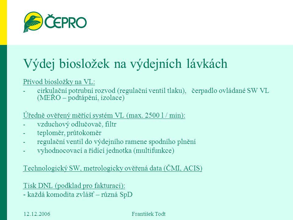 12.12.2006 František Todt Výdej biosložek na výdejních lávkách Přívod biosložky na VL: - cirkulační potrubní rozvod (regulační ventil tlaku), čerpadlo