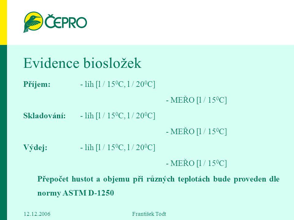 12.12.2006 František Todt Evidence biosložek Příjem:- líh [l / 15 0 C, l / 20 0 C] - MEŘO [l / 15 0 C] Skladování:- líh [l / 15 0 C, l / 20 0 C] - MEŘ