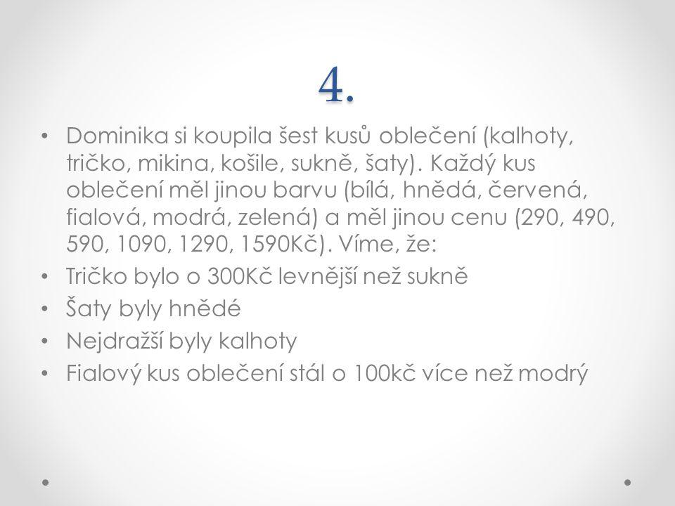 4. Dominika si koupila šest kusů oblečení (kalhoty, tričko, mikina, košile, sukně, šaty). Každý kus oblečení měl jinou barvu (bílá, hnědá, červená, fi