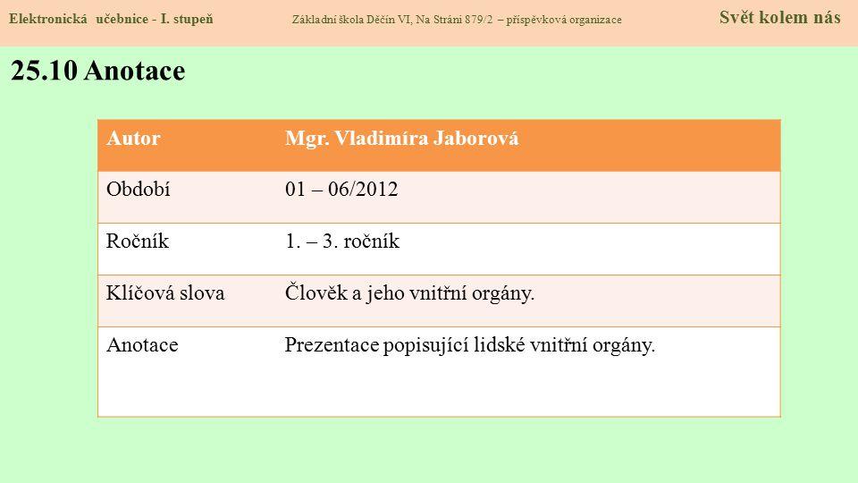 25.9 Použité zdroje, citace Elektronická učebnice - I. stupeň Základní škola Děčín VI, Na Stráni 879/2 – příspěvková organizace Svět kolem nás 1.http:
