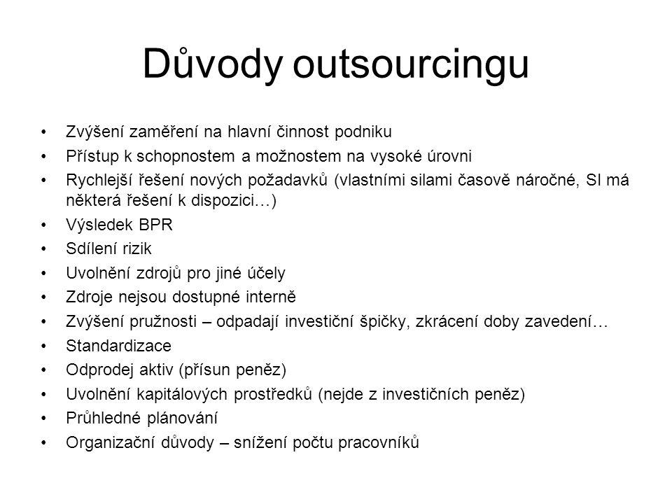 Důvody outsourcingu Zvýšení zaměření na hlavní činnost podniku Přístup k schopnostem a možnostem na vysoké úrovni Rychlejší řešení nových požadavků (v