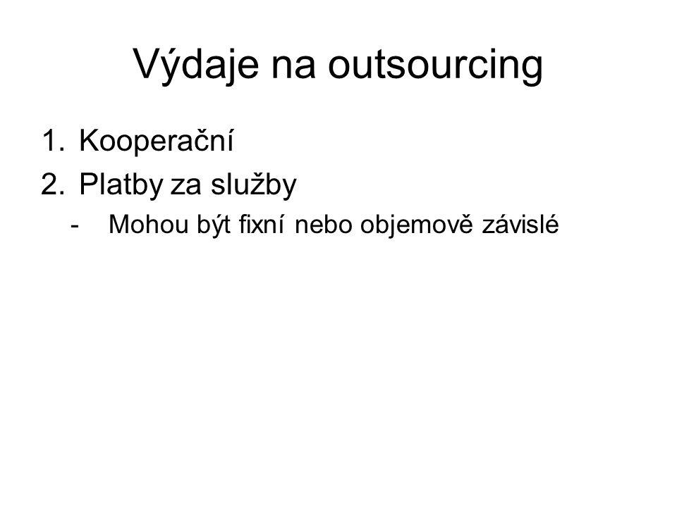 Výdaje na outsourcing 1.Kooperační 2.Platby za služby -Mohou být fixní nebo objemově závislé
