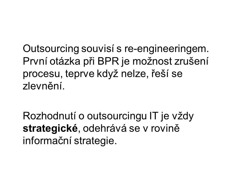 Outsourcing souvisí s re-engineeringem. První otázka při BPR je možnost zrušení procesu, teprve když nelze, řeší se zlevnění. Rozhodnutí o outsourcing