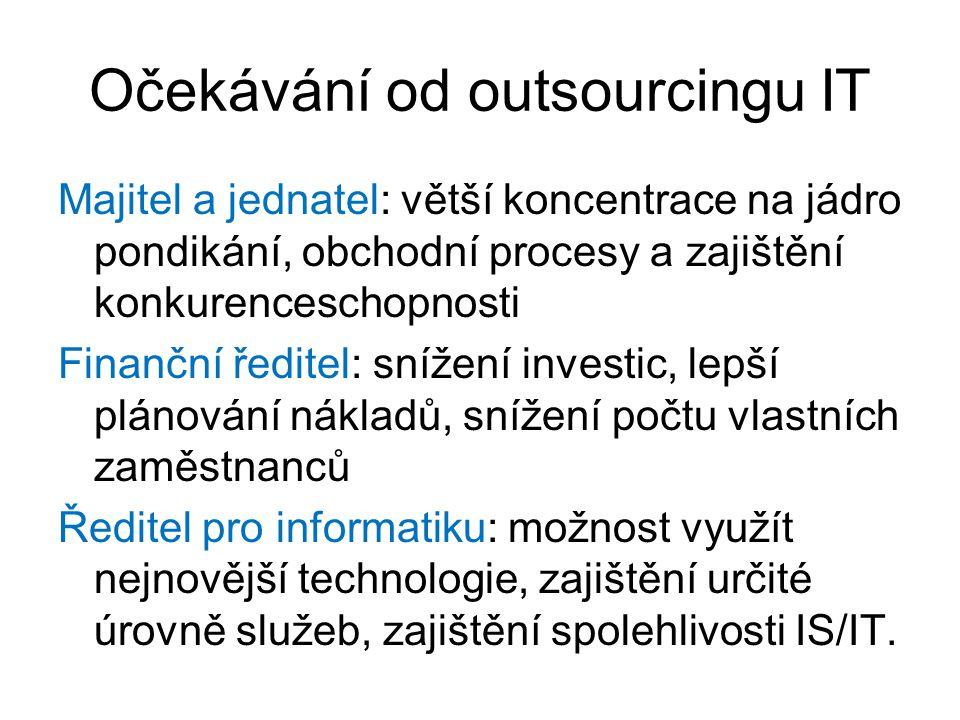 Očekávání od outsourcingu IT Majitel a jednatel: větší koncentrace na jádro pondikání, obchodní procesy a zajištění konkurenceschopnosti Finanční ředitel: snížení investic, lepší plánování nákladů, snížení počtu vlastních zaměstnanců Ředitel pro informatiku: možnost využít nejnovější technologie, zajištění určité úrovně služeb, zajištění spolehlivosti IS/IT.