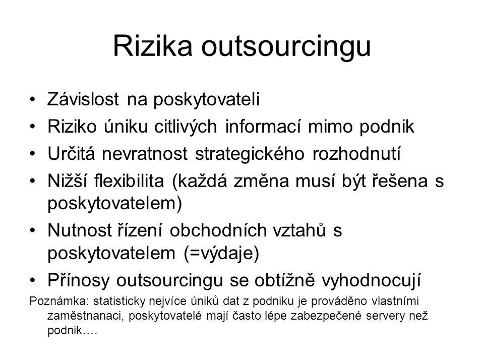 Rizika outsourcingu Závislost na poskytovateli Riziko úniku citlivých informací mimo podnik Určitá nevratnost strategického rozhodnutí Nižší flexibili