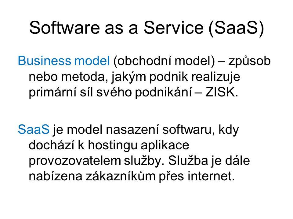 Software as a Service (SaaS) Business model (obchodní model) – způsob nebo metoda, jakým podnik realizuje primární síl svého podnikání – ZISK. SaaS je