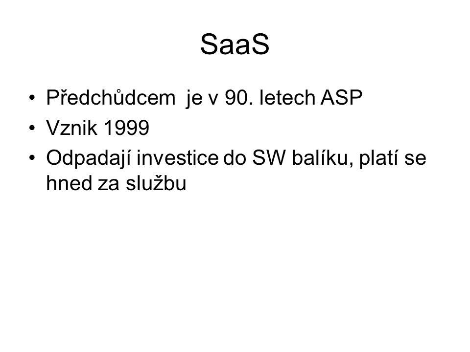 SaaS Předchůdcem je v 90. letech ASP Vznik 1999 Odpadají investice do SW balíku, platí se hned za službu