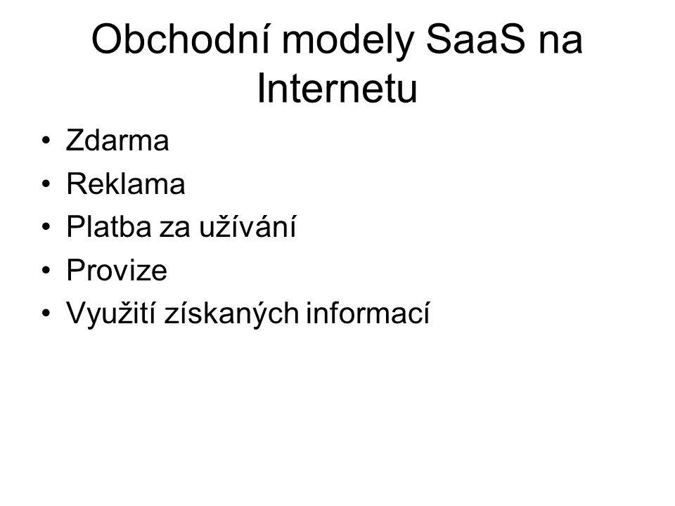 Obchodní modely SaaS na Internetu Zdarma Reklama Platba za užívání Provize Využití získaných informací