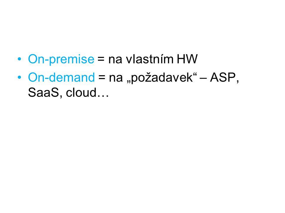 "On-premise = na vlastním HW On-demand = na ""požadavek"" – ASP, SaaS, cloud…"
