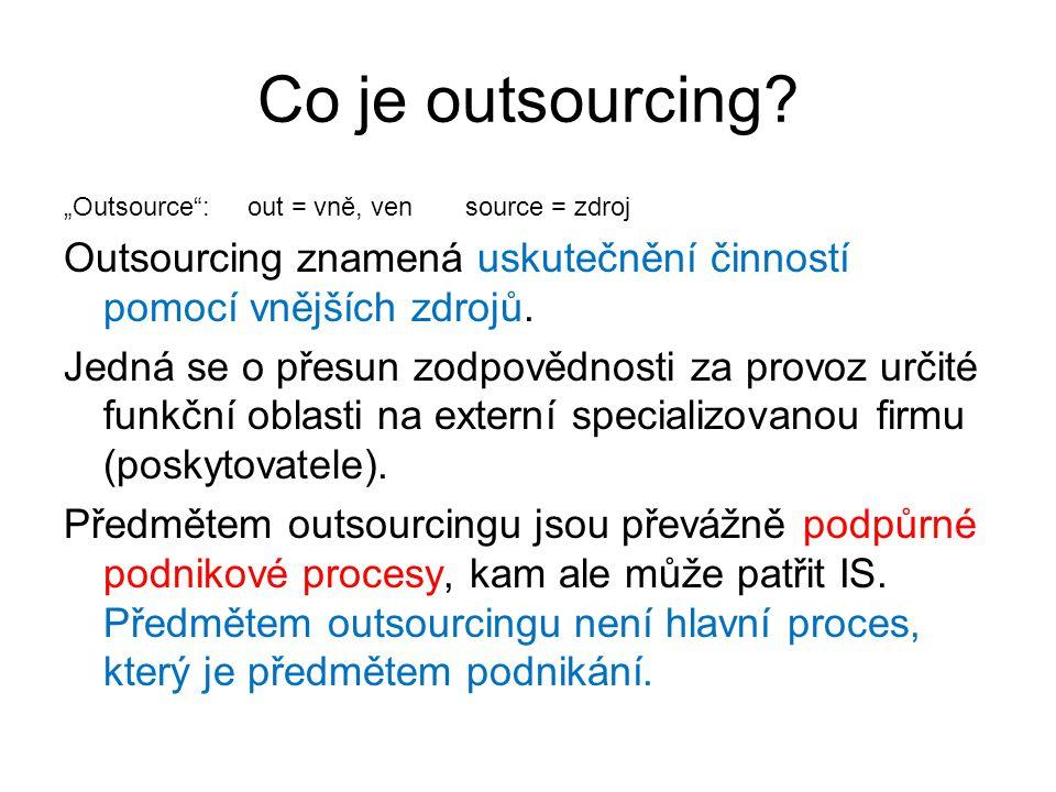 Typy outsourcingu v IS/IT Úplný outsourcing - komplexní služba, kdy všechny služby zajišťuje poskytovatel Outsourcing určité služby - HW, SW, správa IT…vždy dlouhodobě Personální outsourcing - poskytování služeb a lidí v oblasti IT