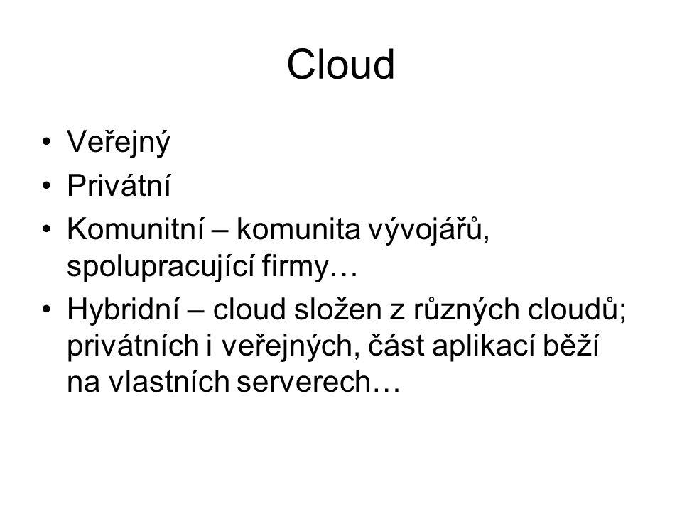 Cloud Veřejný Privátní Komunitní – komunita vývojářů, spolupracující firmy… Hybridní – cloud složen z různých cloudů; privátních i veřejných, část aplikací běží na vlastních serverech…