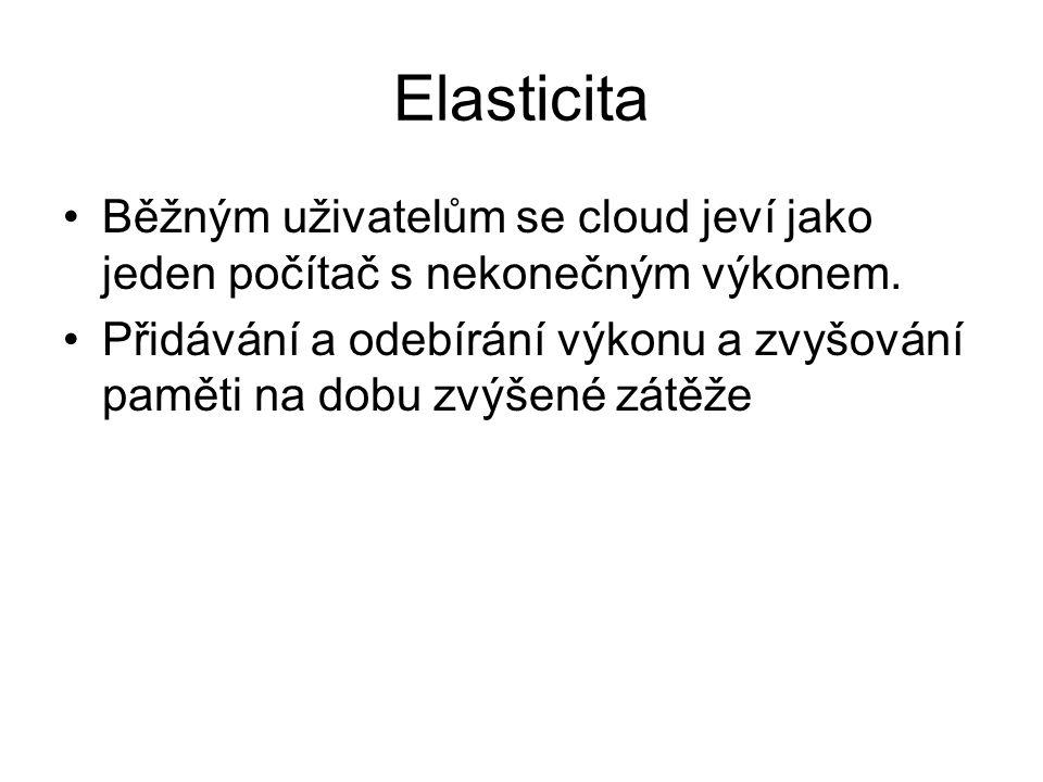 Elasticita Běžným uživatelům se cloud jeví jako jeden počítač s nekonečným výkonem. Přidávání a odebírání výkonu a zvyšování paměti na dobu zvýšené zá