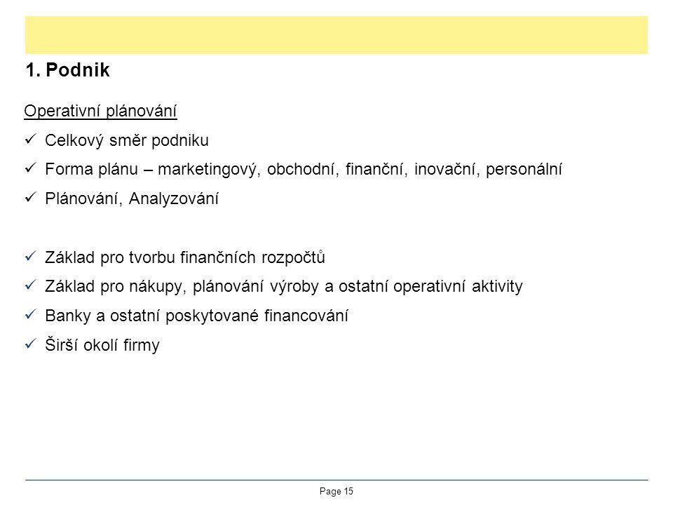 1. Podnik Operativní plánování Celkový směr podniku Forma plánu – marketingový, obchodní, finanční, inovační, personální Plánování, Analyzování Základ
