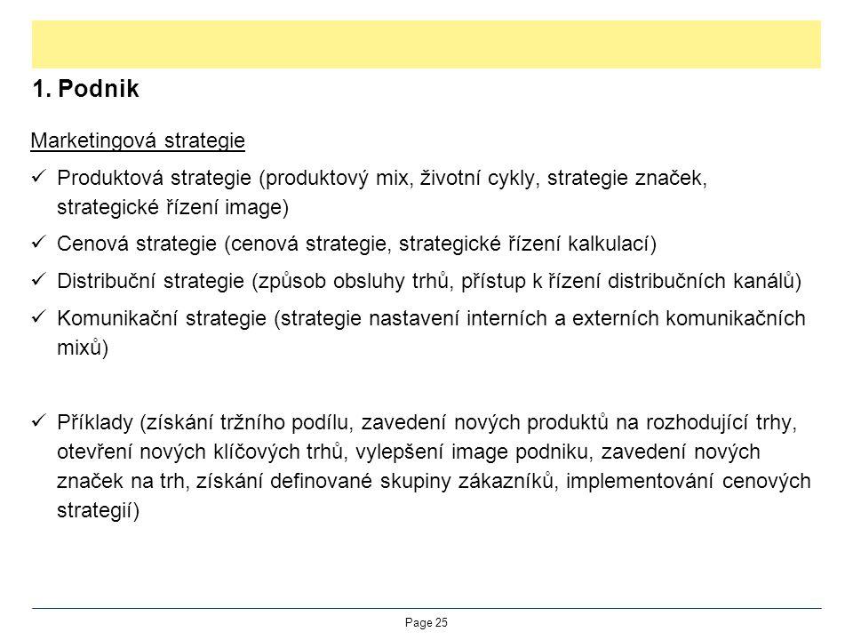 1. Podnik Marketingová strategie Produktová strategie (produktový mix, životní cykly, strategie značek, strategické řízení image) Cenová strategie (ce