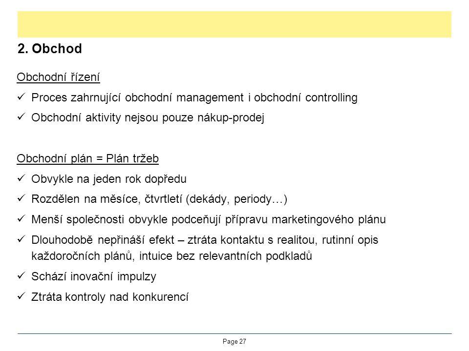 2. Obchod Obchodní řízení Proces zahrnující obchodní management i obchodní controlling Obchodní aktivity nejsou pouze nákup-prodej Obchodní plán = Plá